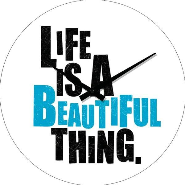 Sklenené hodiny Life Is, 34 cm