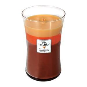 Vonná sviečka Woodwick Trilogy Pohodlie jesene, 130 hodín