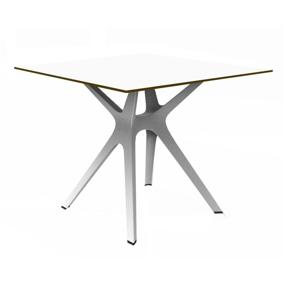Biely jedálenský stôl vhodný do exteriéru Resol Vela, 90 × 90 cm