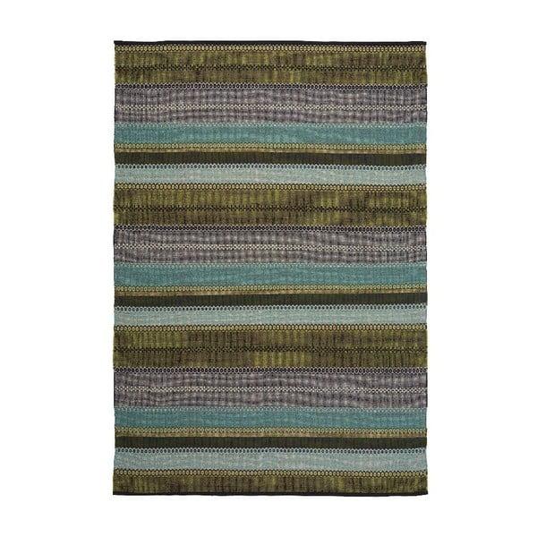 Zelený ručne tkaný bavlnený koberec Linie Design Ida, 170x240cm