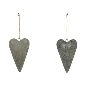 Sada 2 veľkých sivých závesných dekorácií z posmaltovaného kovu s motívom srdca Ego Dekor, 7,5×12,5 cm