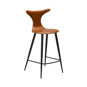 Koňakovohnedá barová stolička z eko kože DAN–FORM Denmark Dolphin, výška 97 cm