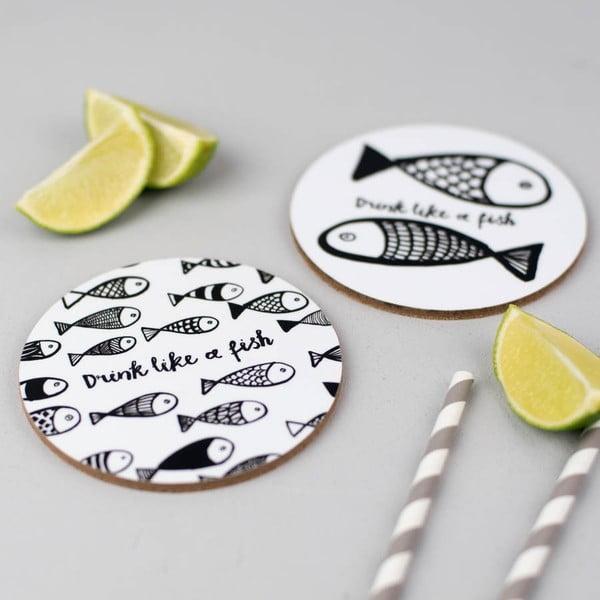 Set 4 podložiek pod pohár Drink Like A Fish