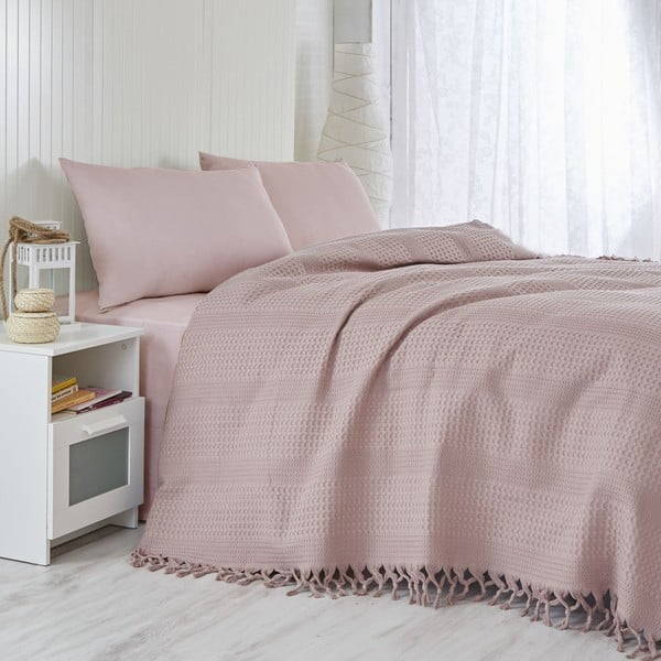 Ľahký pléd cez posteľ Pique Lilac, 220 x 240 cm