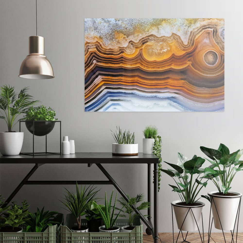 Sklenený obraz OrangeWallz Gemstone Earth, 76 x 114 cm