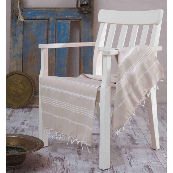 Béžová bavlnená osuška Hammam Sultan, 100×180cm