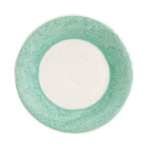 Kameninový tanier so zeleným detailom Côté Table Lisere, ⌀21 cm