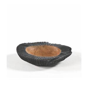 Čierna miska z dreva a keramiky Thai Natura,⌀30 cm