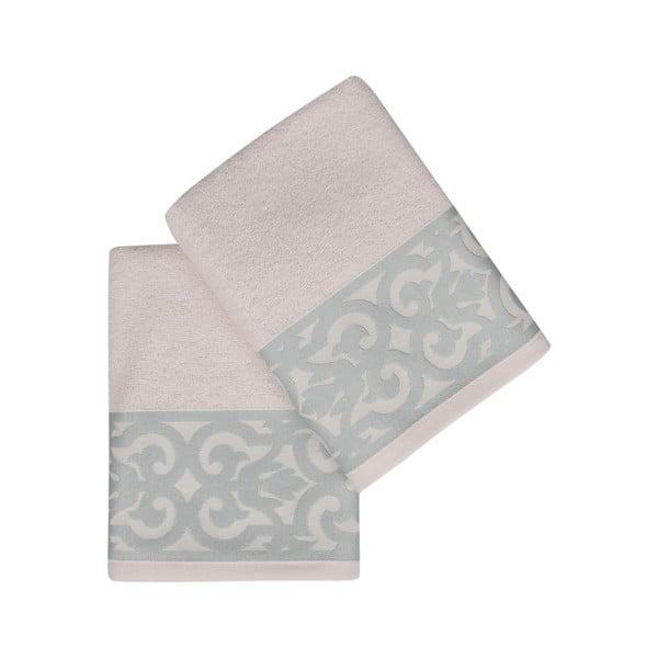 Sada 2 bielych uterákov na ruky s modrým lemovaním Grace
