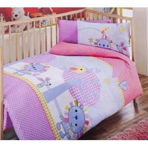 Set detských obliečok a plachty Pink Lilac, 120x150 cm