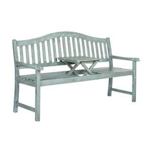 Modrá záhradná lavica z akáciového dreva s výklopným stolíkom Safavieh Bailey