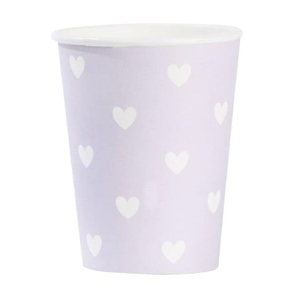 Sada papierových téglikov Miss Étoile Lavender Hearts, 8 ks