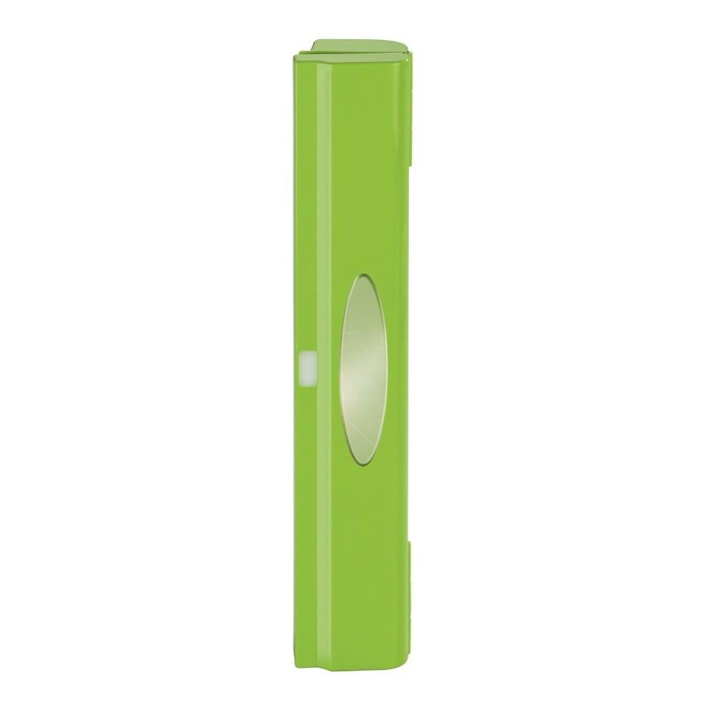 Zelený plastový kryt na potravinovú fóliu s orezávačom Wenko Perfect Cutter