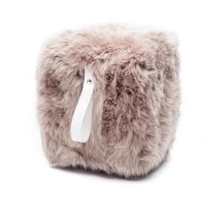 Hnedo-biely svetlý hranatý puf z ovčej vlny Royal Dream