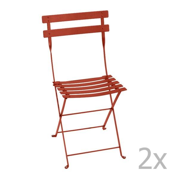 Sada 2 oranžovočervených skladacích stoličiek Fermob Bistro