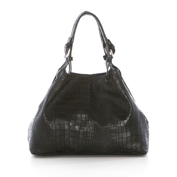 Čierna kožená kabelka Federica Bassi Hébe