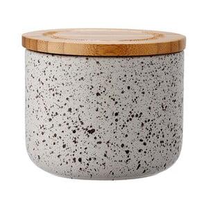 Sivá keramická dóza s bambusovým vekom Ladelle Speckle, výška9 cm