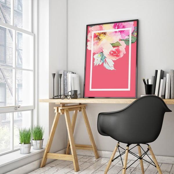 Plagát s kvetmi, ružové pozadie v bielem rámčeku, 30 x 40 cm
