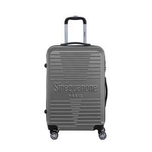 Tmavosivý cestovný kufor na kolieskách s kódovým zámkom SINEQUANONE Trimy, 71 l