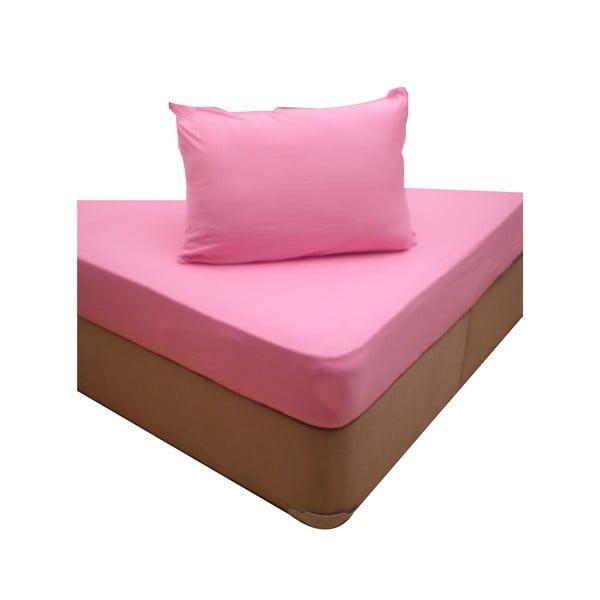 Elastické prestieradlo se dvoma obliečkami na vankúš Pink, 160x200 cm