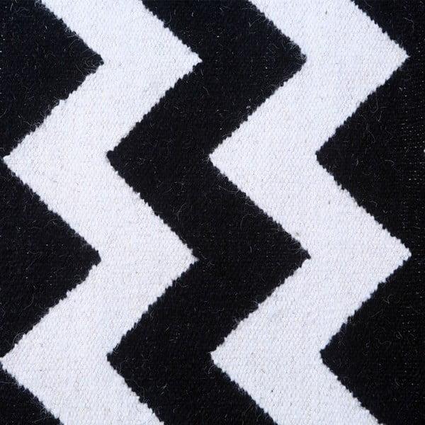 Vlnený koberec Geometry Zic Zac Black & White, 160x230 cm