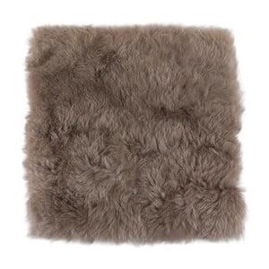 Hnedosivý kožušinový podsedák s krátkym vlasom, 37 x 37 cm