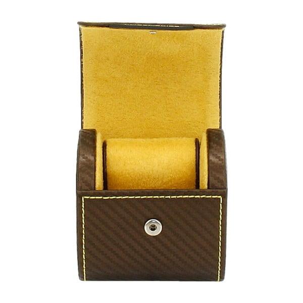 Čokoládovohnedý box na 1 hodinky Friedrich Lederwaren Carbon