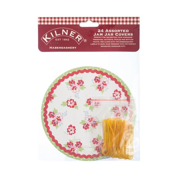 24 papierových krytov na vrchnáky s gumičkami Kilner