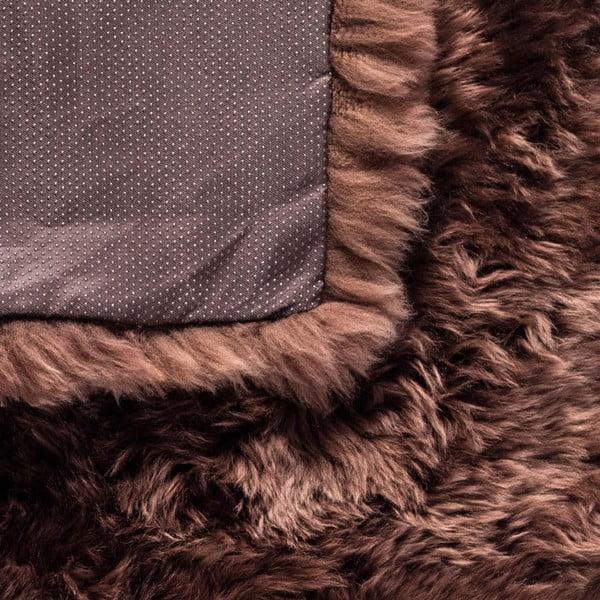 Hnedý obdĺžnikový koberec z ovčej vlny Royal Dream Zealand, 140×70cm