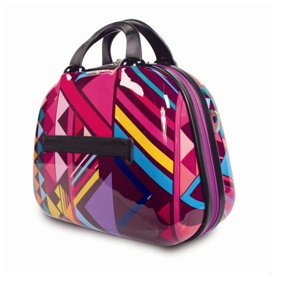 Ružový cestovný kozmetický kufrík so vzormi SKPA-T