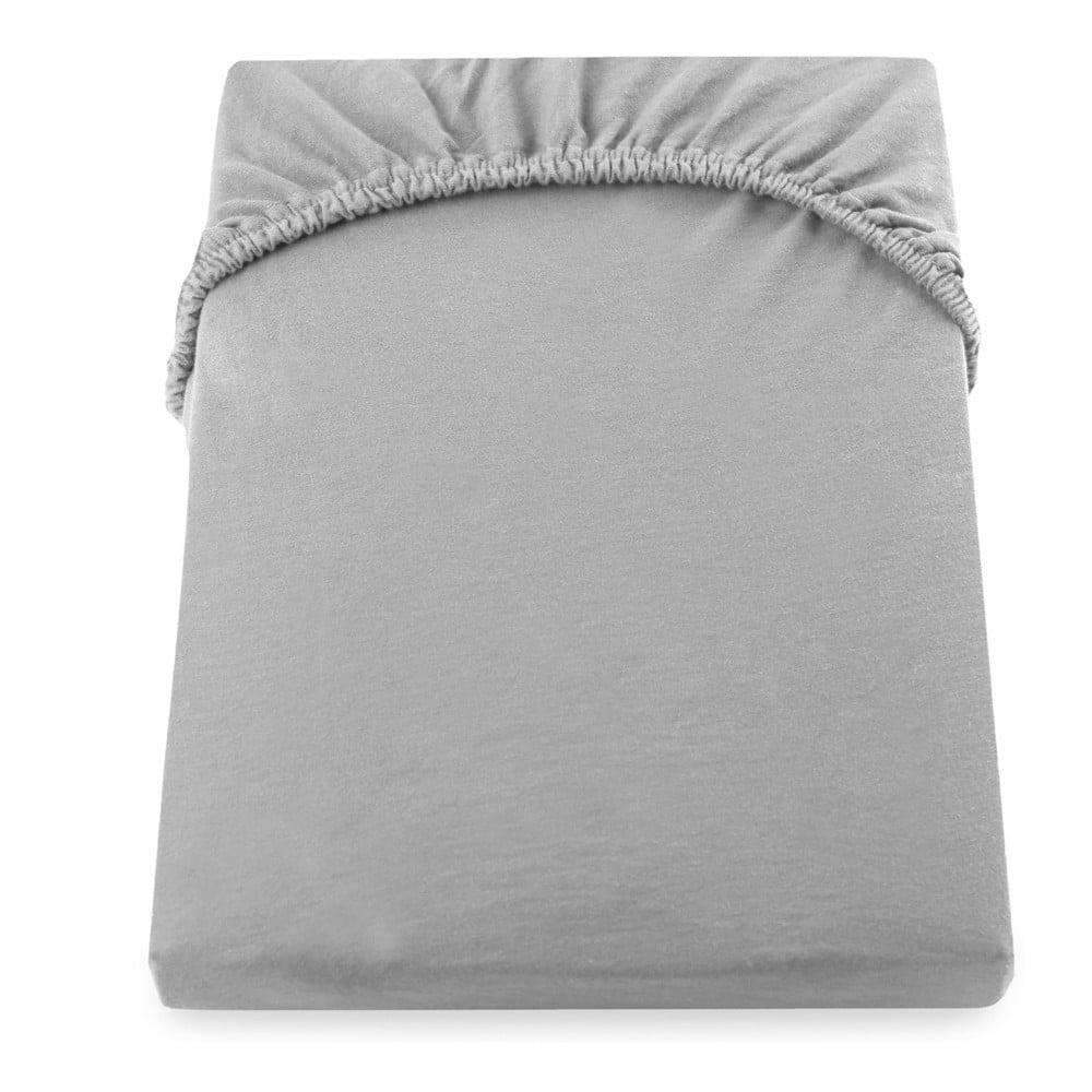 Oceľovosivá elastická bavlnená plachta DecoKing Amber Collection, 180 - 200 × 200 cm