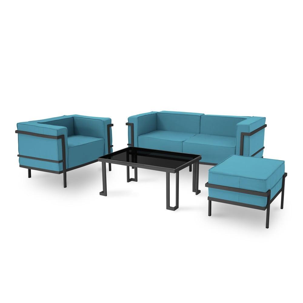 Set záhradného nábytku pre 4 osoby v modrej farbe a čiernom ráme Calme Jardin Cannes