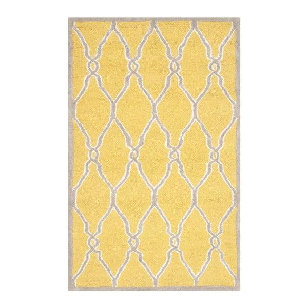Vlnený koberec Augusta Yellow, 91x152 cm