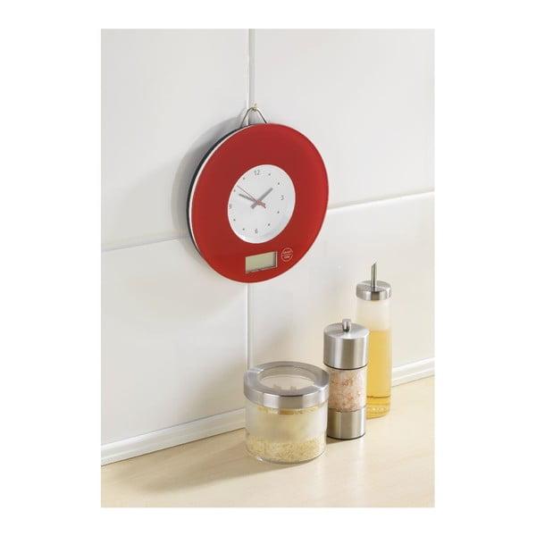 Červená kuchynská váha s hodinami Wenko Clock
