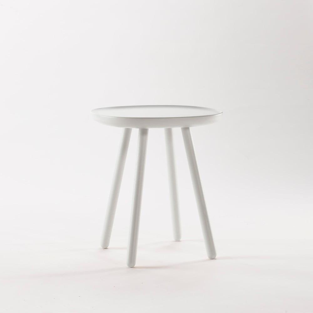 Biely odkladací stolík z masívu EMKO Naïve Small, ø 45 cm