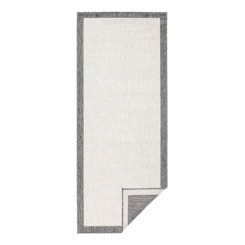 Sivo-krémový vonkajší koberec Bougari Panama, 80 x 350 cm