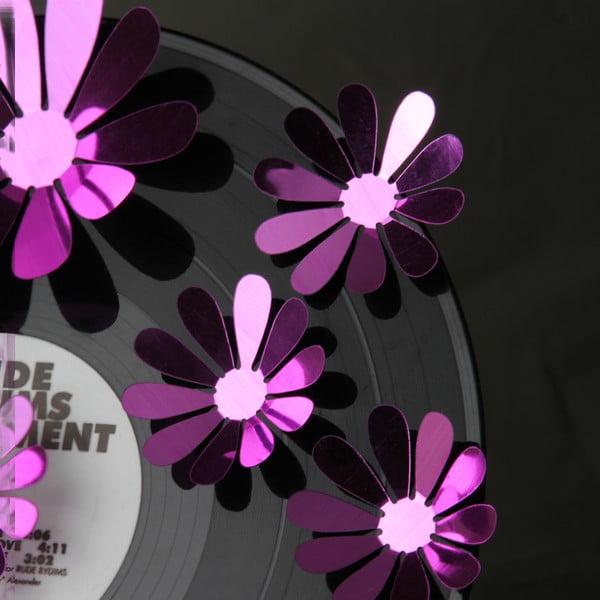 Sada 12 adhezívnych 3D samolepiek Flowers Purple