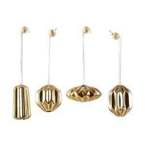 Sada 4 vianočných dekorácií KJCollection Ceramic Gold