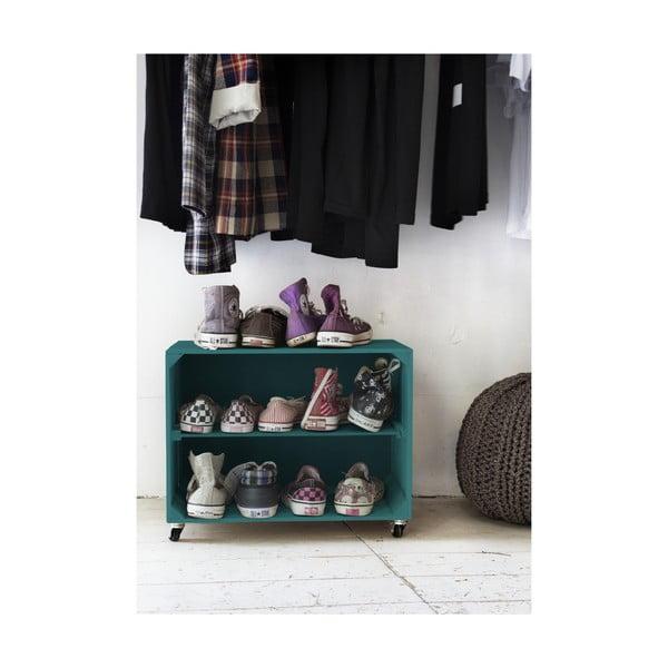 Rustikálna drevená skrinka na topánky Really Nice Things Shoe, tyrkysová
