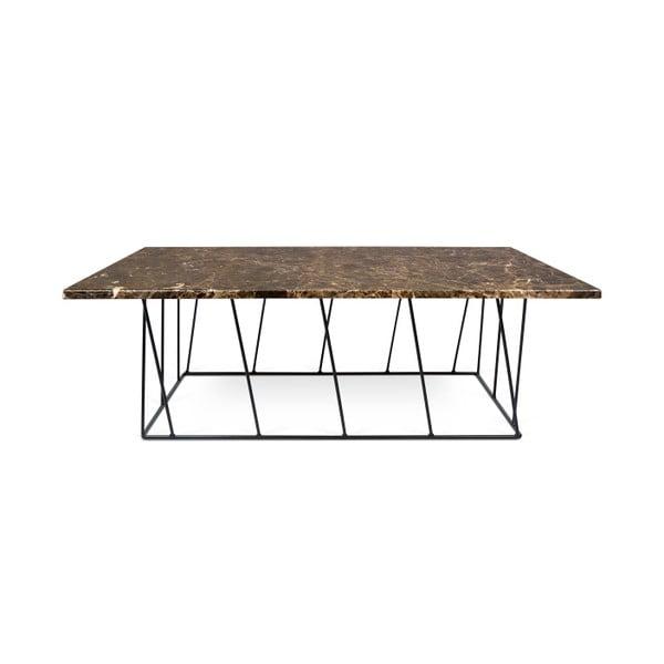 Hnedý mramorový konferenčný stolík s čiernymi nohami TemaHome Helix, 120cm