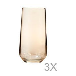 Sada 3 vysokých pohárov zo žltého skla s okrajom zlatej farby Mezzo Paris, 250 ml
