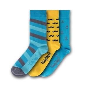 Sada 3 párov ponožiek Funky Steps Blue, veľkosť 39 - 45
