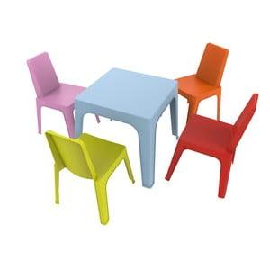 Detský záhradný set 1 modrého stola a 4 stoličiek Resol Julieta