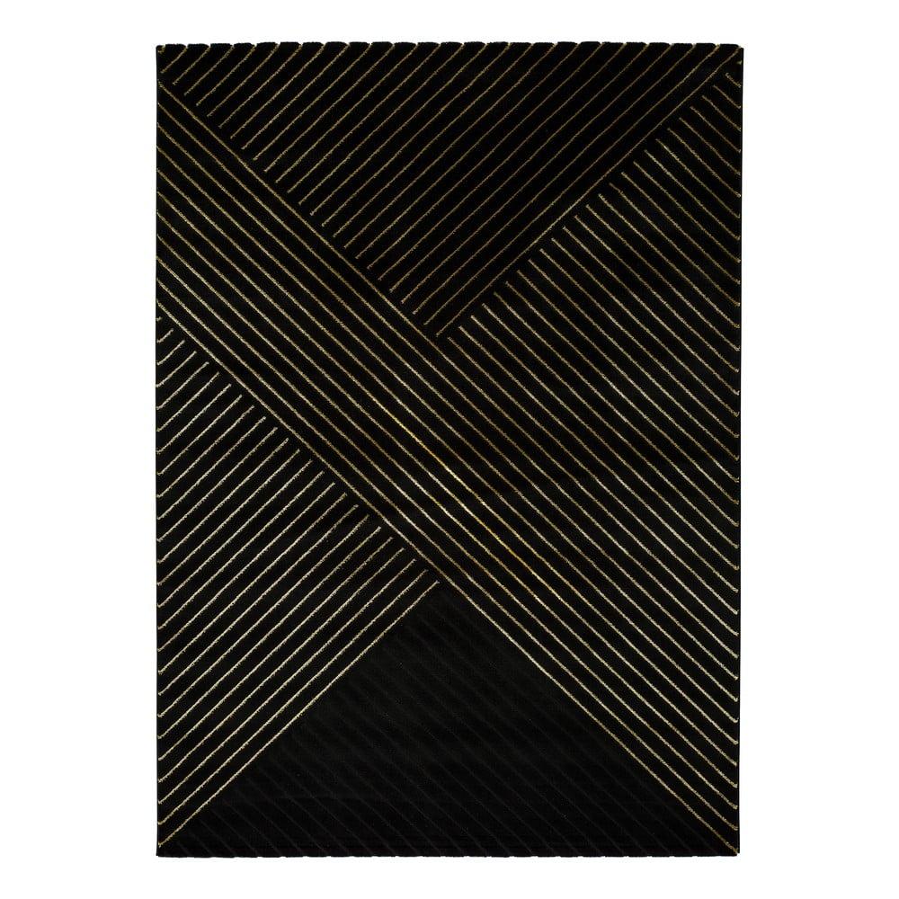 Čierny koberec Universal Gold Stripes, 120 x 170 cm