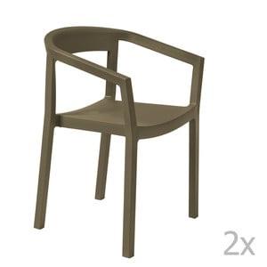 Sada 2 hnedých záhradných stoličiek sopierkami Resol Peach