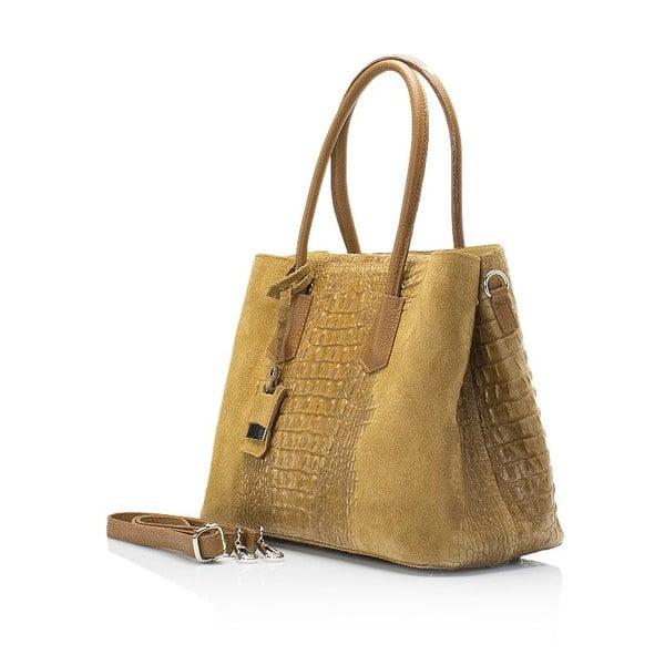 Svetlohnedá kožená kabelka Markese Crocco Suede