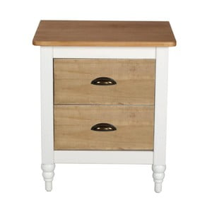 Biely nočný stolík z masívneho borovicového dreva SOB Irelia
