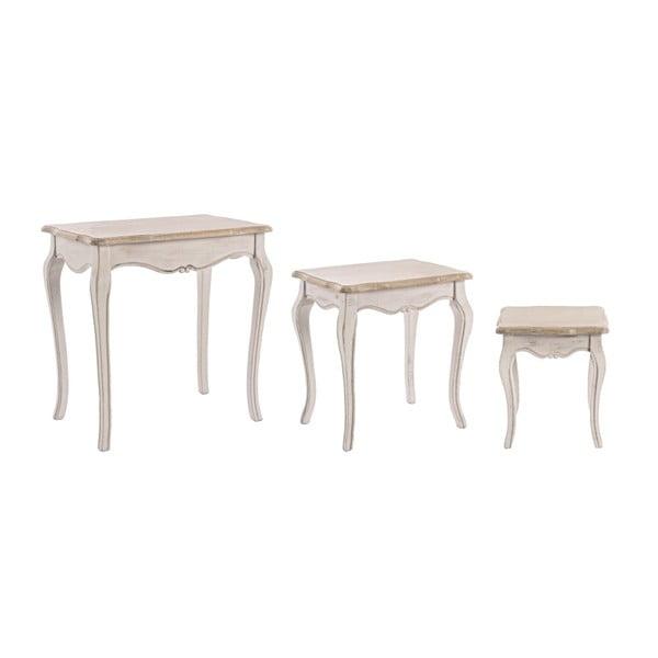 Sada 3 odkladacích stolíkov s konštrukciou z dreva paulovnia Bizzotto Whiteness