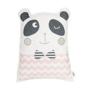 Ružový detský vankúšik s prímesou bavlny Apolena Pillow Toy Panda, 25 x 36 cm