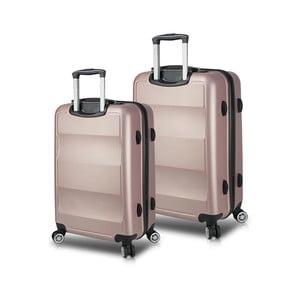Sada 2 ružových cestovných kufrov na kolieskach s USB porty My Valice LASSO Cabin & Medium